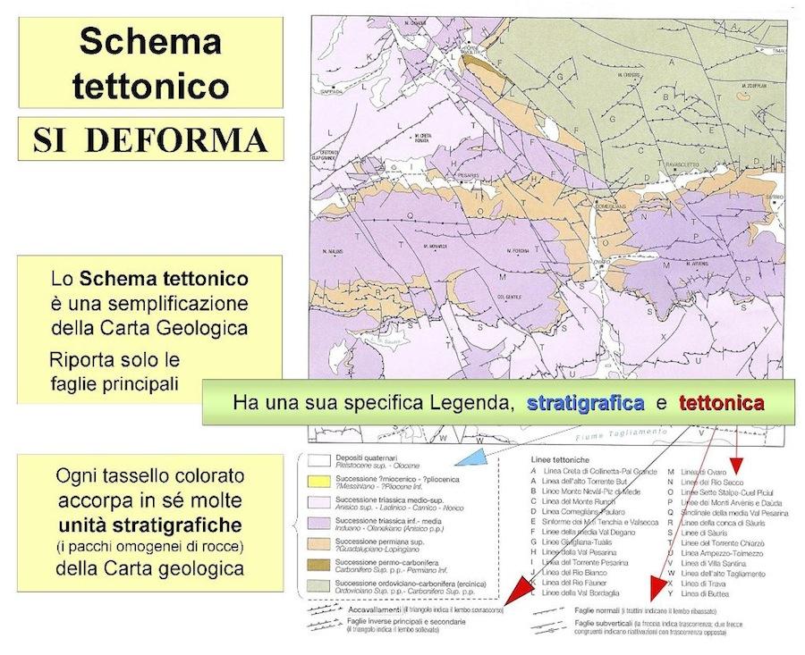 Fig. 9 - Lo schema tettonico è uno dei vari elementi a cornice di una carta geologica. Rappresenta (in sintesi) la carta geologica alla quale si riferisce, semplificandone i contenuti e facilitandone la lettura complessiva.
